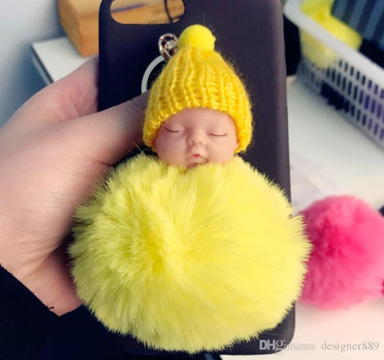 الملونة لطيف النوم دمية طفل المفاتيح pompom الأرنب الفراء الكرة مفتاح سلسلة كيرينغ مفتاح حامل حقيبة قلادة سحر اكسسوارات أفضل هدية