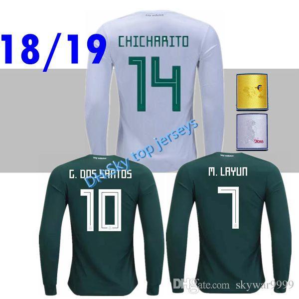 21e012602 2018 Mexico World Cup Long Sleeve Soccer Jerseys 18 19 P.AGUILAR ...