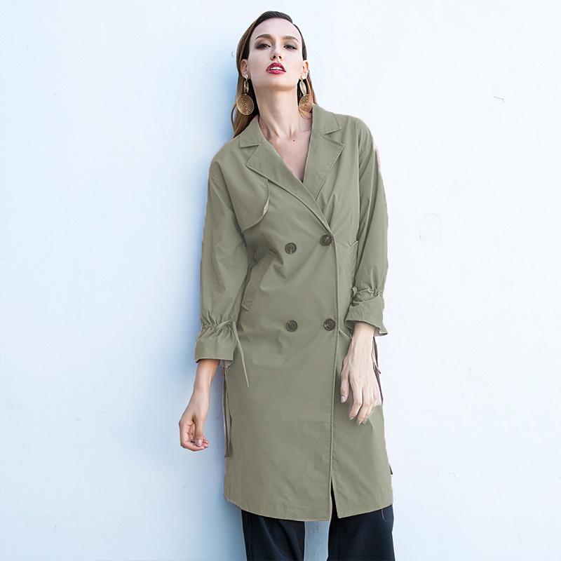 2018 Herbst Mode Frauen Trenchcoat Umlegekragen Lace Up Gürtel Tiered Casual Büro Weibliche Lange Trench Business Oberbekleidung