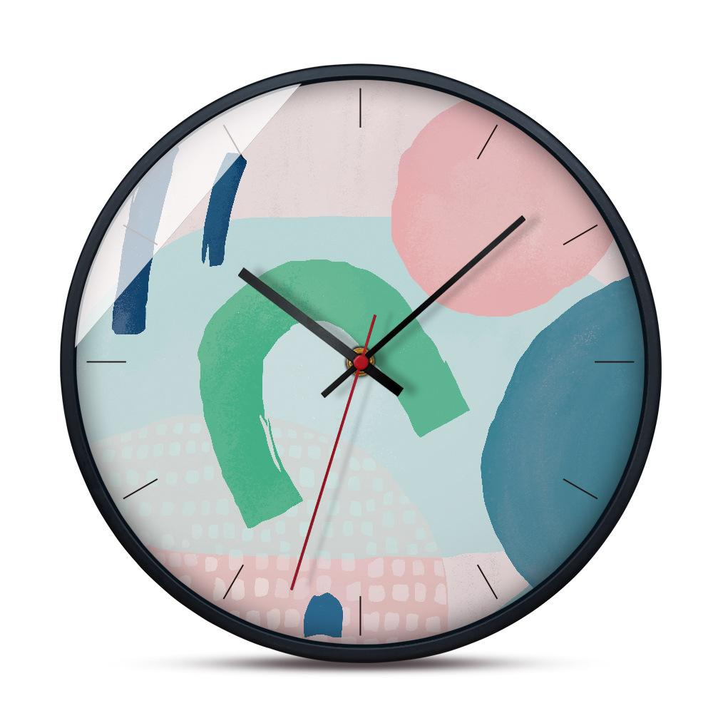 Large Decorative Wall Clock Mute Metal Frame Modern Wall Clock Brief