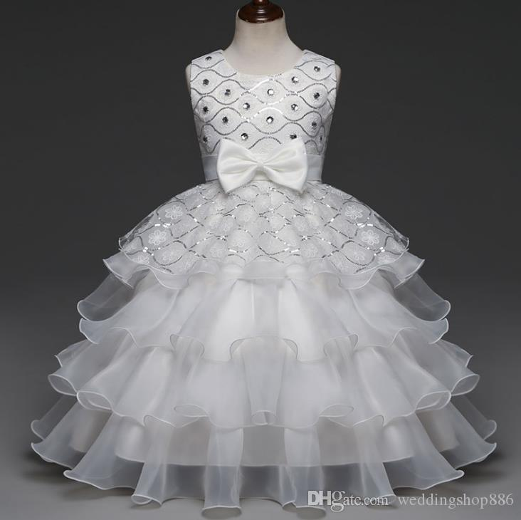 ball gownFlower Girl dresses Sequin Diamond Dress Bow Tie Party Wedding Pageant Princess Birthday Layer Dresses Children Clothes 12 Years