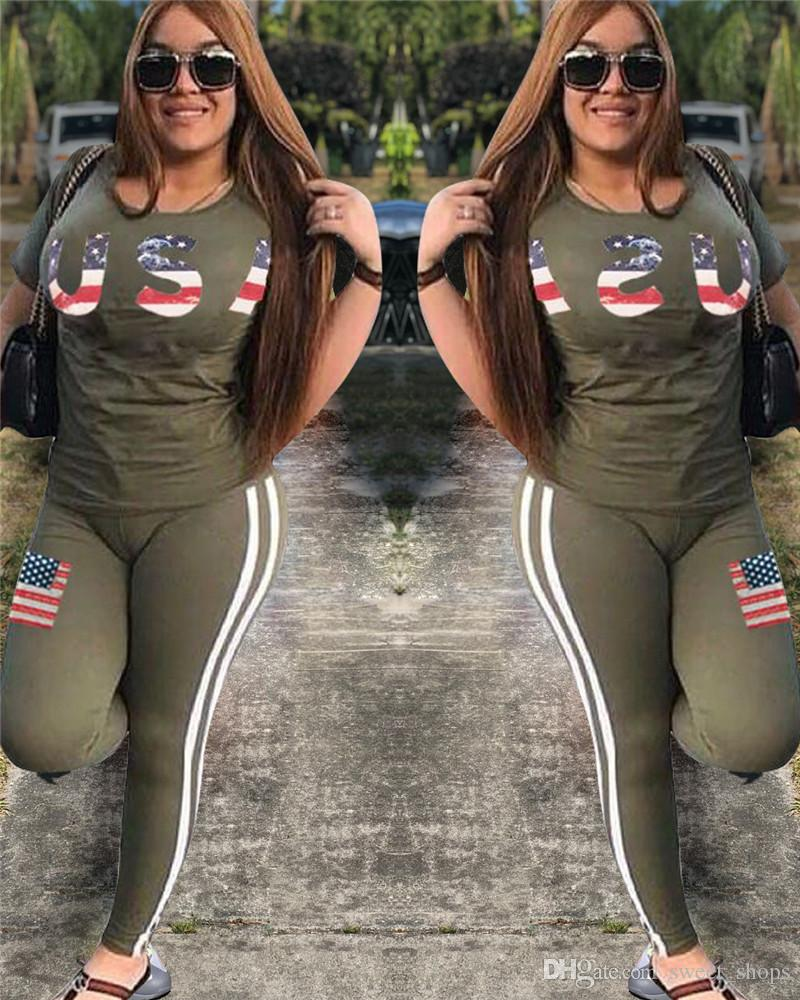 Women Summer Tracksuit USA Letter Print Outfit Short Sleeve T Shirt Tops + Pants Leggings With Flag Set for USA Independence Day 2018
