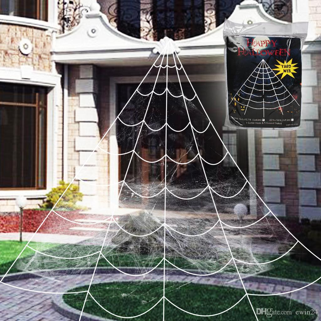 Super Stretch Sector Giant Spider Web For Outdoor Halloween Decorations  White