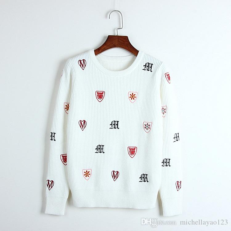 2018 2018 White Long Sleeves Letter Embroidery Womens Sweaters