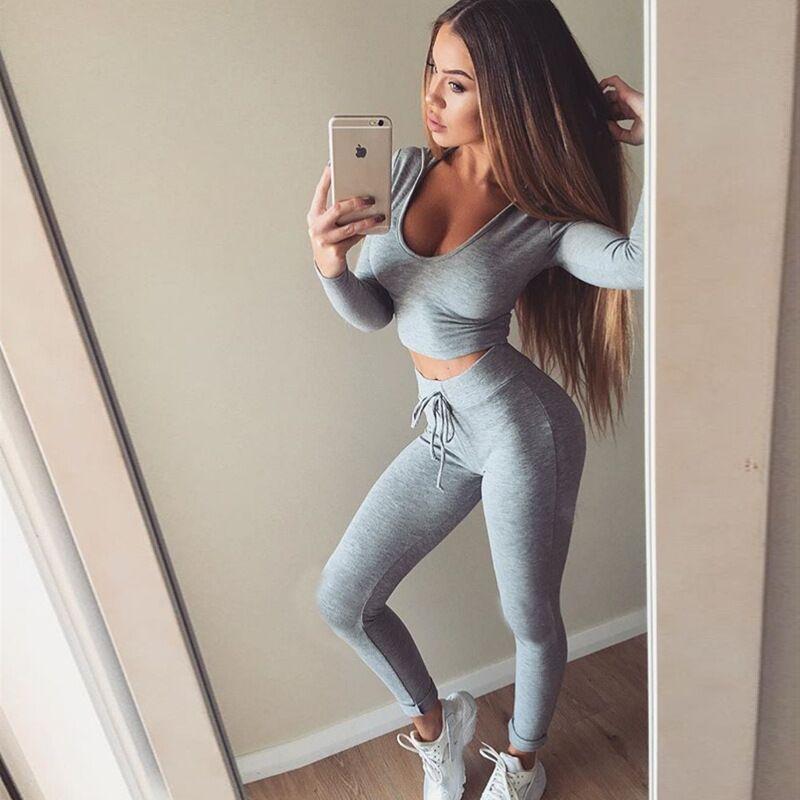 Mujeres Slim Fit Sexy Body Curve Chándal Scoop Neck Short Crop Pullover Con Leggings Pantalones / set Traje deportivo