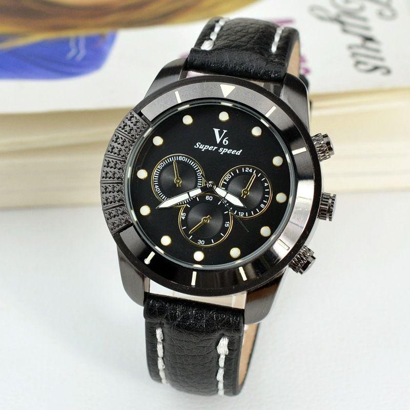54bf994f31eb Compre 2018 Nueva V6 Marca Hombres Reloj Relojes De Lujo Cuarzo Reloj Moda  Cinturones De Cuero Deportes Baratos Relojes De Pulsera Relogio Masculino A  ...