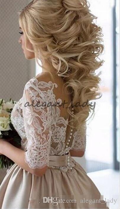 Ange Etoiles Vintage Dantel Leke Şampanya Yarım Kollu Gelinlik Modelleri Sheer Boyun Kapalı Alt Ucuz Dubai Arapça Durum akşam elbise