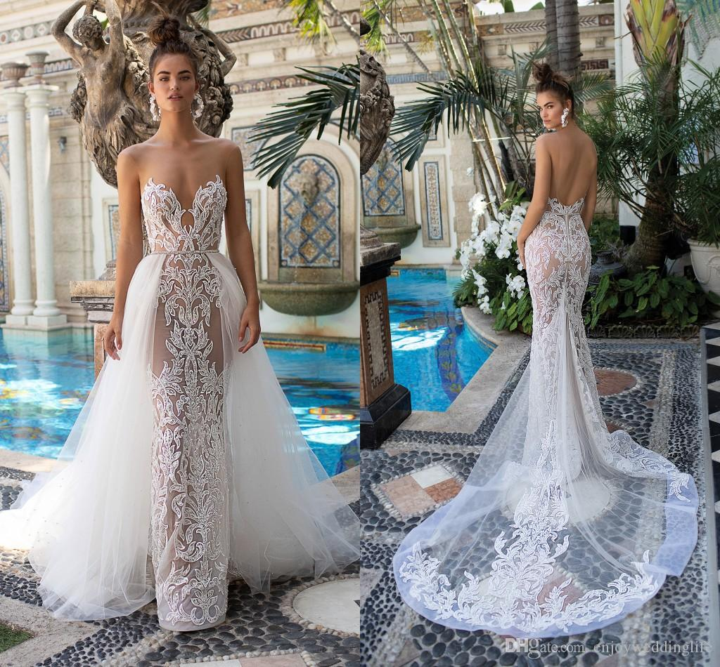 d1068e99582 2019 Berta New Arrival Sexy Illusion Mermaid Wedding Dresses Backless Lace  Appliqued Wedding Bridal Gowns With Detachable Tulle Train 2015 Dresses ...