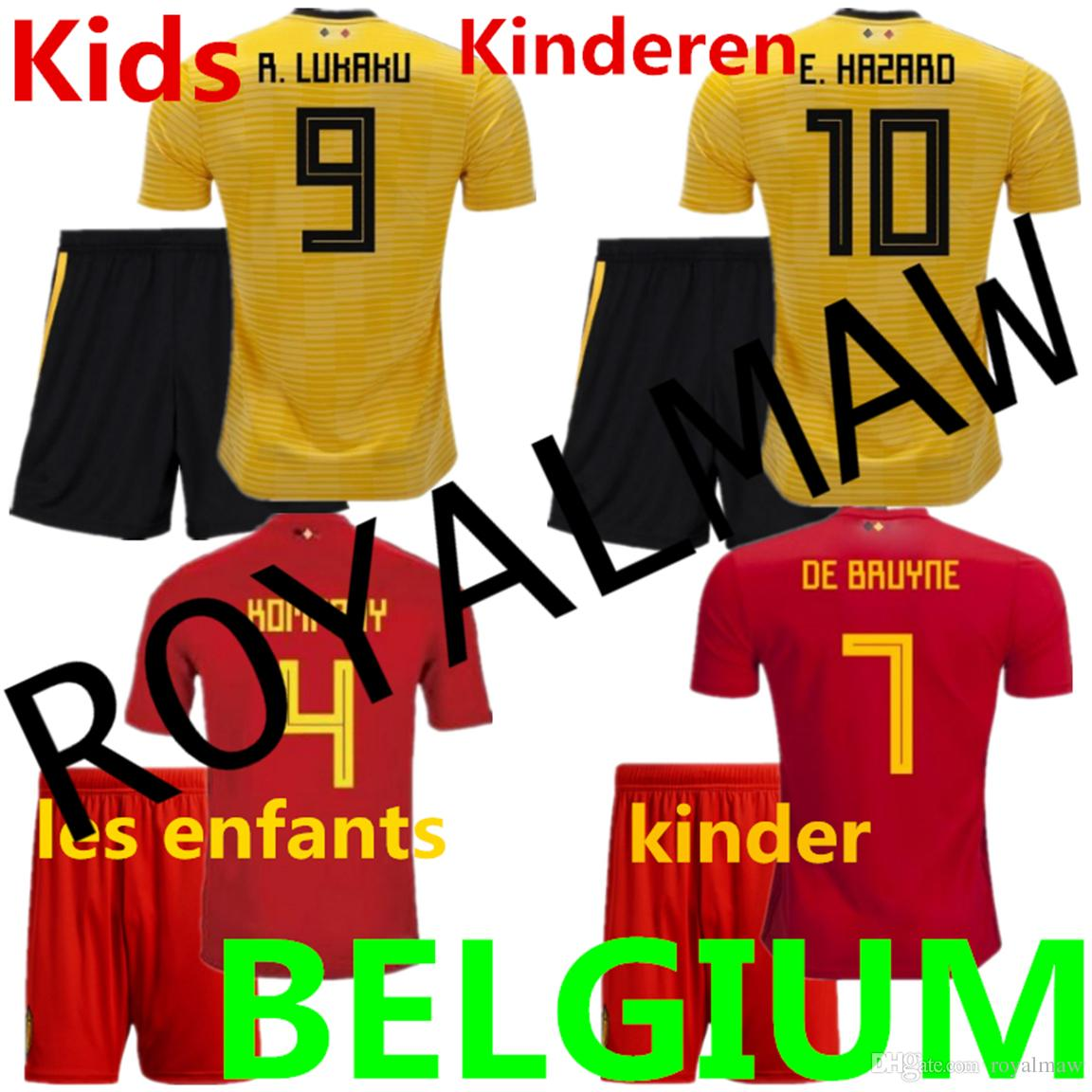 Belgium Kids Jersey 2018 World Cup Belgique Enfant Maillot De Foot Home Red  Away Yellow Belgien Football Uniform Kit België Child Clothes Top Thailalnd  R. ... d4a662c2b