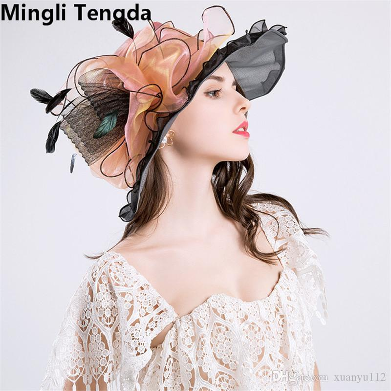 Mingli Tengda High Quality Elegant Formal Wedding Hats for Women Organza Bridal Hats with Flower Large Beach Hat chapeau de mariage 2018 New