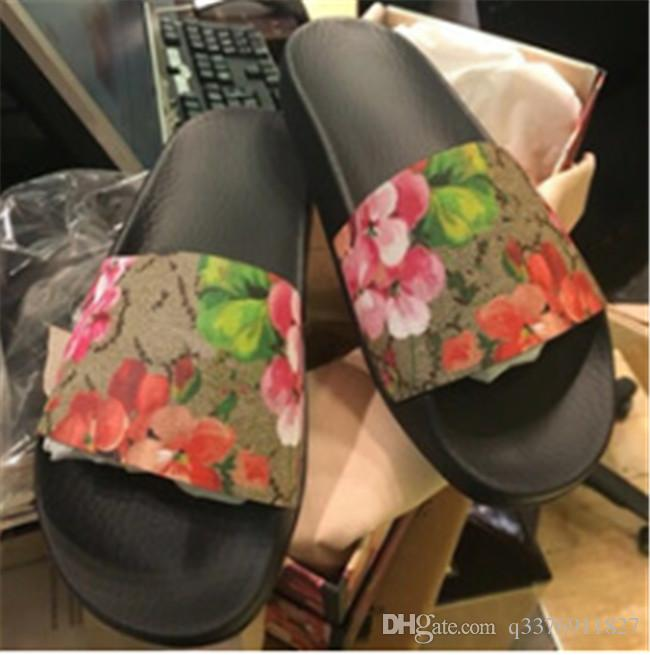 Fashion slide sandals slippers for men and women WITH BOX Hot Luxury Designer flower printed unisex beach flip flops slipper BEST QUALITY