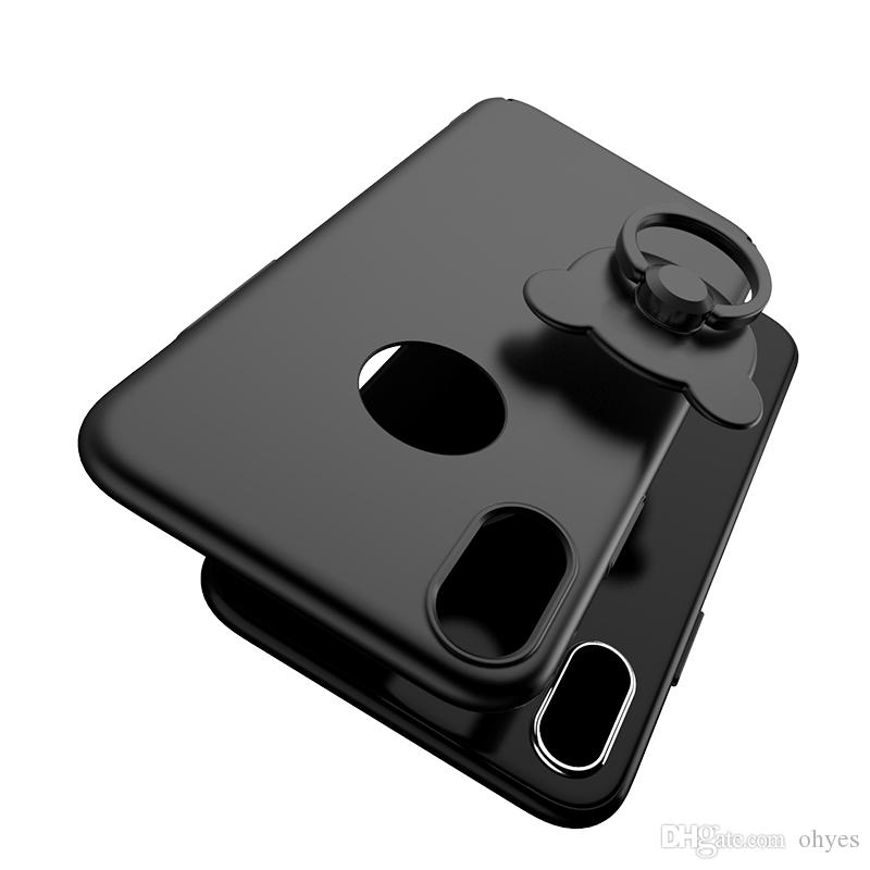 New Case 5.8'' inch Teddy Bear Back Cover Ultra Thin with Holder Ring with/without Circle Hole