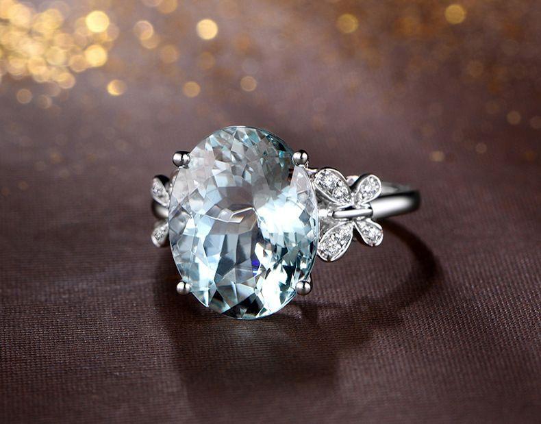 Blue Diamond Topaz anillo de cristal anillos de boda anillo de mariposa Brida joyas de moda anillos de las mujeres regalo voluntad y arena nueva
