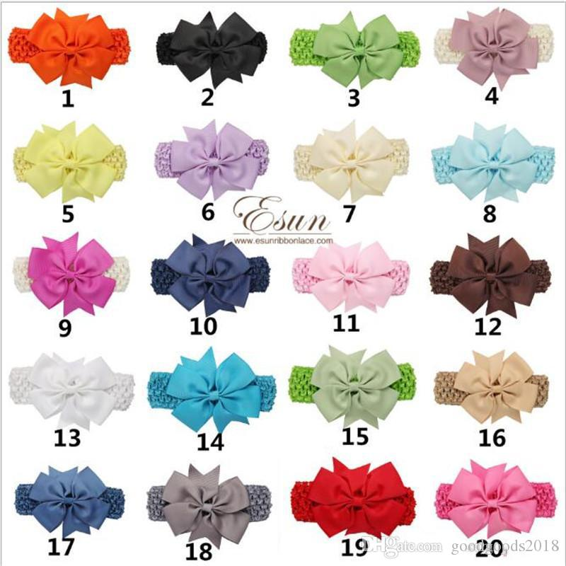 Baby Big Lace Bow Headbands Girls Cute Bow Hair Band Infant Lovely Headwrap Children Bowknot Elastic Accessories Butterfly Hair Cl