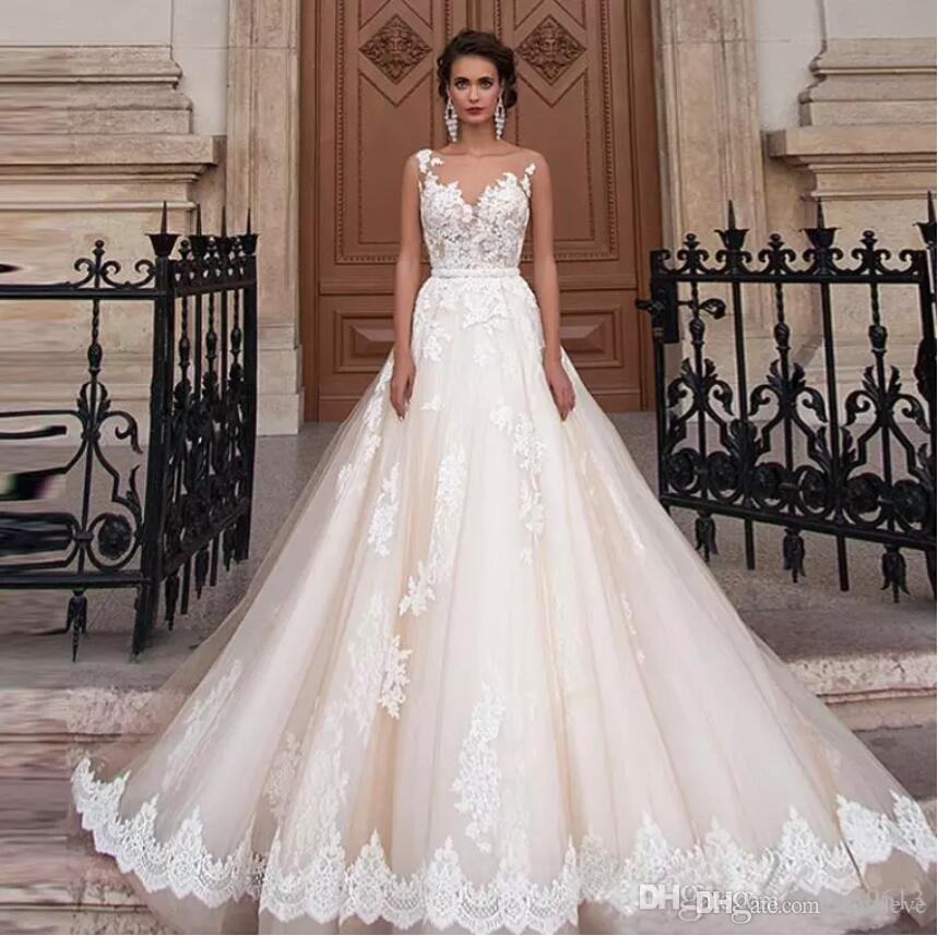 Discount 2018 Sheer Jewel Wedding Dresses Lace Appliques A Line ...