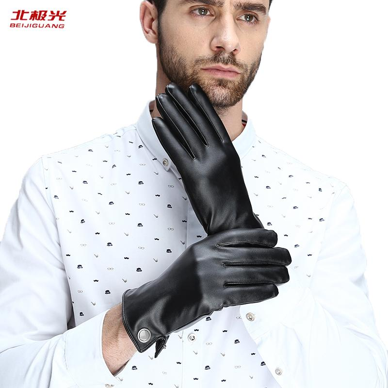 Gloves Men Genuine Leather Warm Winter Simple Delicate Soft Sheepskin Solid Color Contraction Prevent Gentleman Gloves DK-01