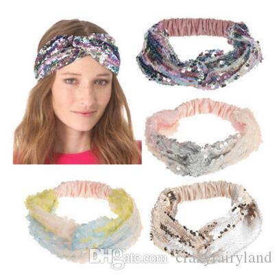 Sequin Girls Headband Reversible Elastic Shiny Hairband Hair Accessories  Women Elastic Bandanas Mermain Hair Bands Head Wrap Hoop Headwear Pretty  Baby Hair ... 84921288c5e
