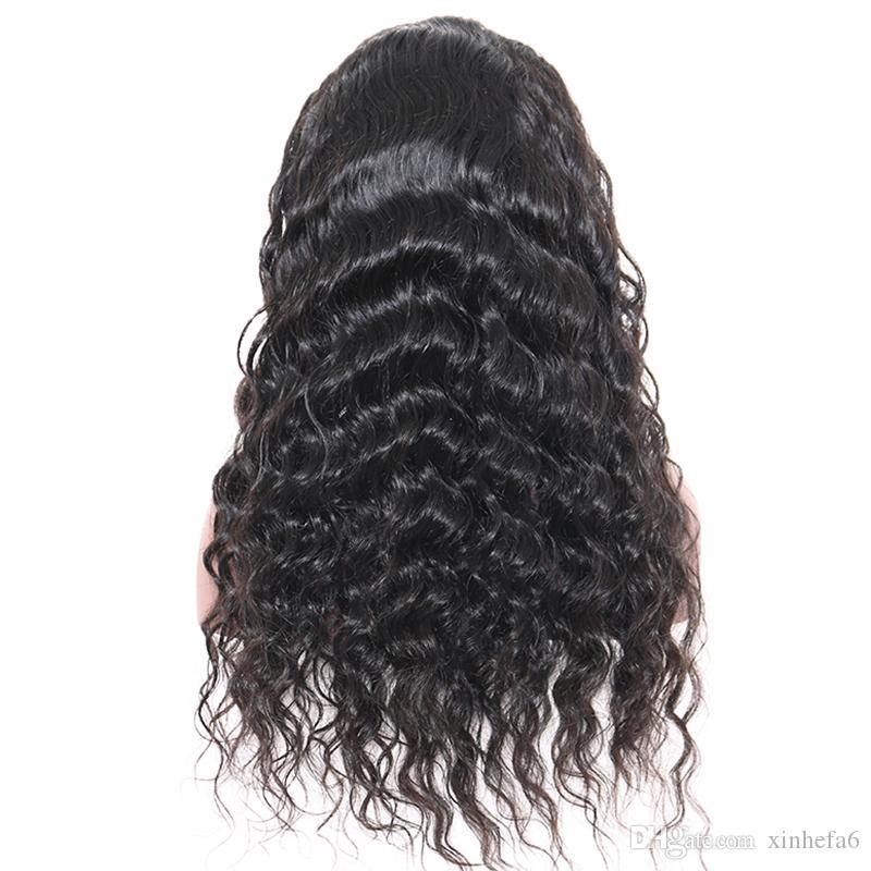 Tam Yoğunluk 7A Sınıf Tutkalsız Tam Dantel Peruk Bakire Brezilyalı İnsan Saç Dantel Ön Peruk Doğal Saç Çizgisi Ile Derin Gevşek Dalga