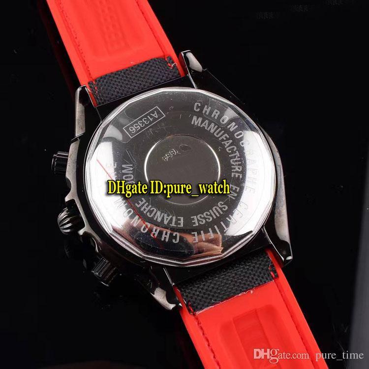 Nuevo 44mm PVD Negro MB0111C3 Amarillo Dial Cuarzo Cronógrafo Reloj para hombre Nylon / Correa de caucho Relojes deportivos de alta calidad