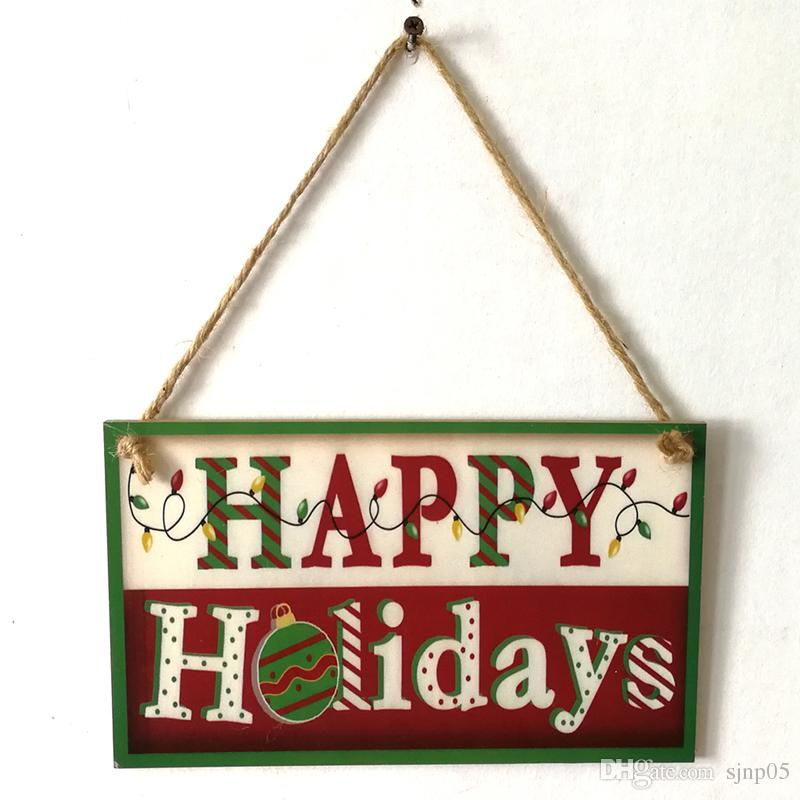 wooden happy holiday hanging board merry christmas wood sign plaque home shop art decoration handmade rustic xmas gift mexican christmas decorations modern - Merry Christmas Wooden Sign