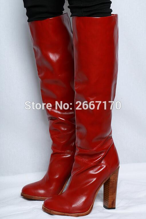 b7ed3fa36e5 2018 Winter New Women Knee High Boots Cow Leather Block High Heels Slip On  Motorcycle Booties Burgundy Boots Shoes Women Big 42 Slipper Boots Ankle  Booties ...