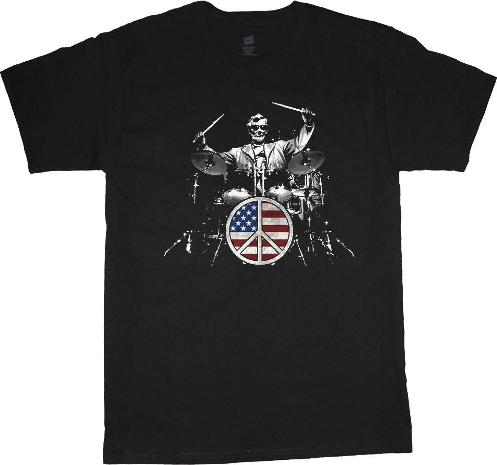Abraham Lincoln Drum Set T Shirt Drummer Drum Set Tee Shirt Mens