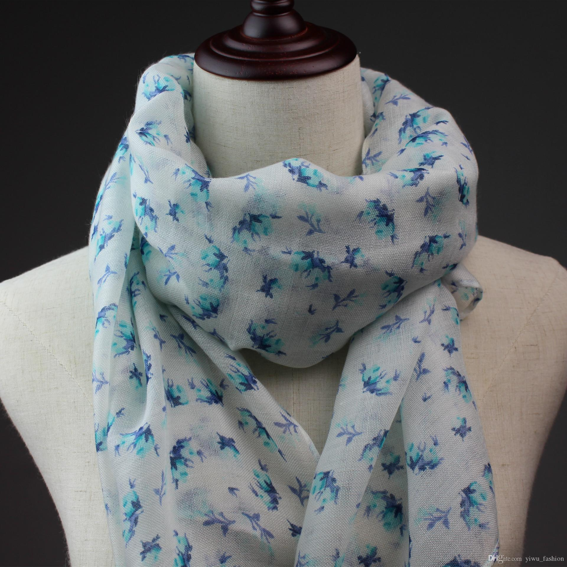 Small floral printed square cotton scarf spring style export orders