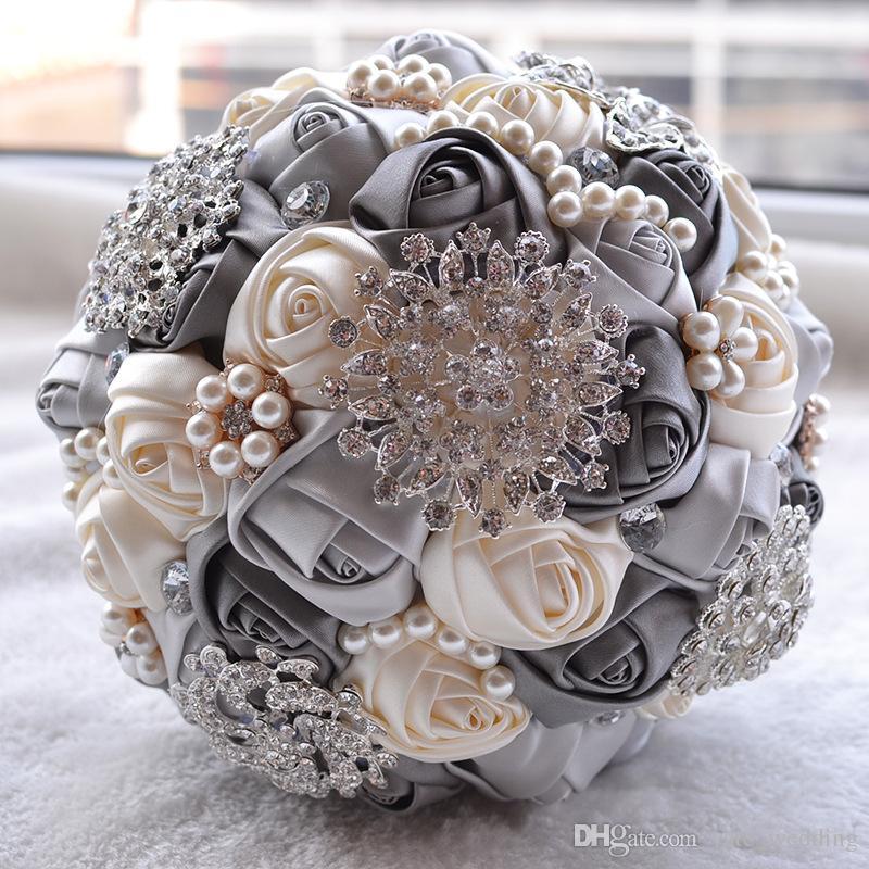 Grosshandel Elfenbein Brautstrauss Satin Rose Blumen Brosche