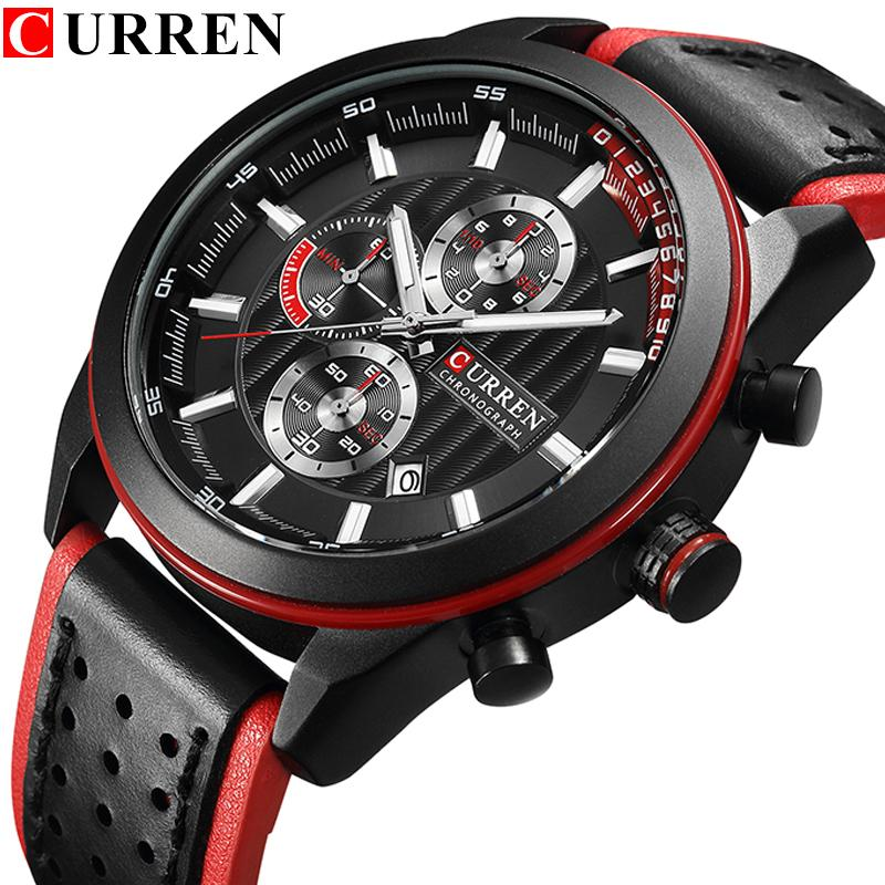 51493e271e7 Compre CURREN Top Marca De Luxo Esporte Relógios De Quartzo Homens Clássico  Preto Cronógrafo Pulseira De Couro Data Relógio De Pulso Relógio Masculino  De ...