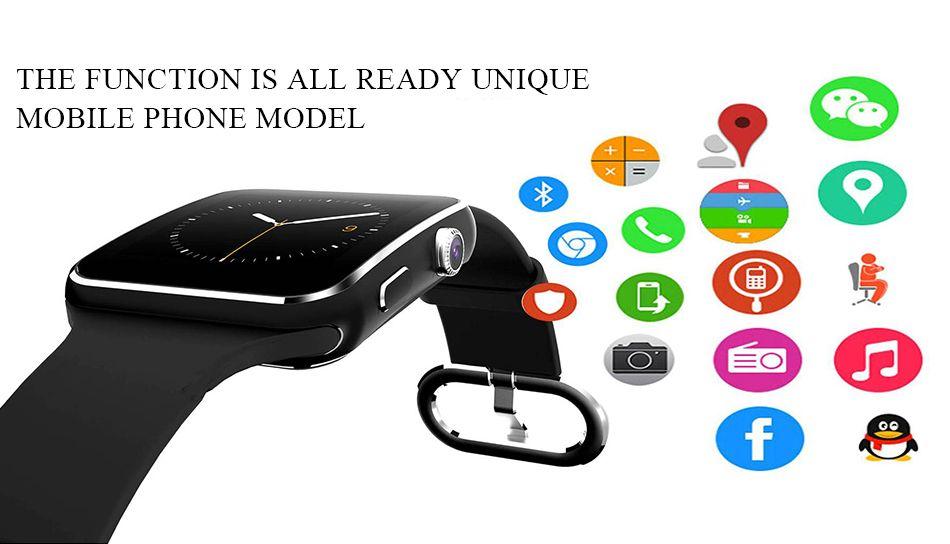 X6 Smartwatch Kavisli Ekran Akıllı İzle bilezik Telefon ile SIM TF Kart Yuvası ile Kamera için Samsung android VS U8 DZ09 GT08