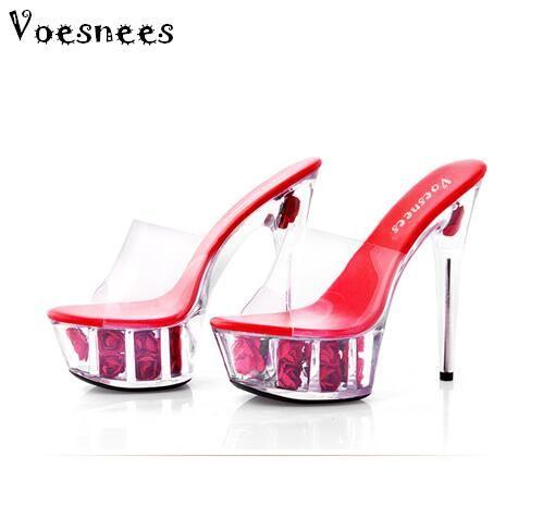 Zapato Tacón Diapositivas Flores Sexy Sandalias 15cm Discoteca Plataforma Verano Alto 34 Rose Mujer Impermeable Plus Multicolor De Size 43 dCBoxerW
