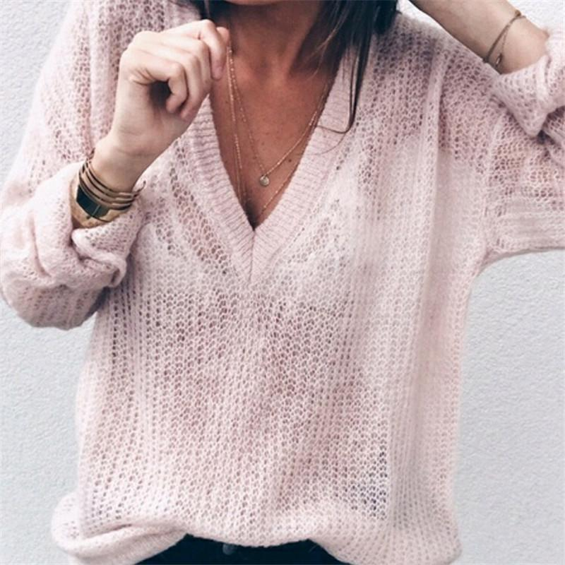 56873dc65 2019 Good Quality Women Sexy Solid Color Deep V Neck Knit Sweater Autumn  And Winter Long Sleeve Thin Sweater From Jamie02