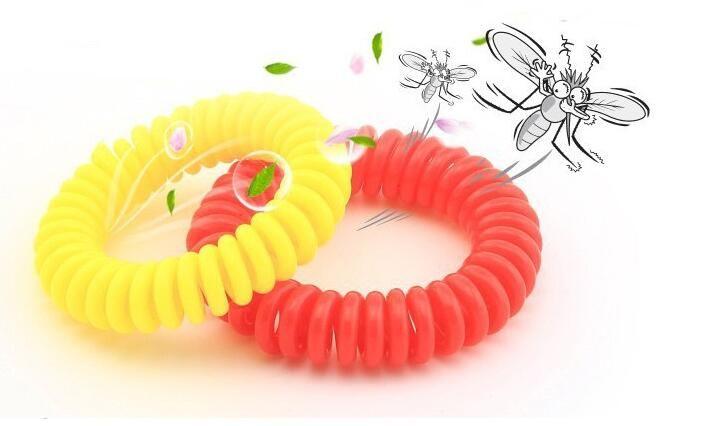 50 teile / los Neue Mückenschutz Armband Stretchable Elastic Coil Spirale hand Handgelenk Band telefon Ring Kette Anti-moskito armband
