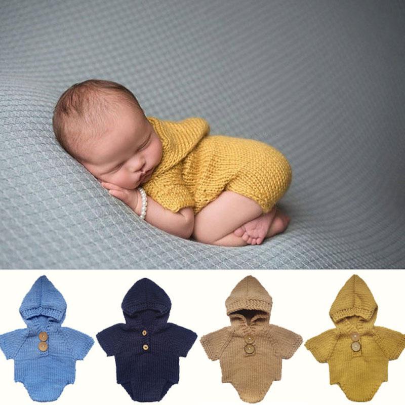 Großhandel Neugeborene Foto Prop Mit Kapuze Strampler Gestrickte
