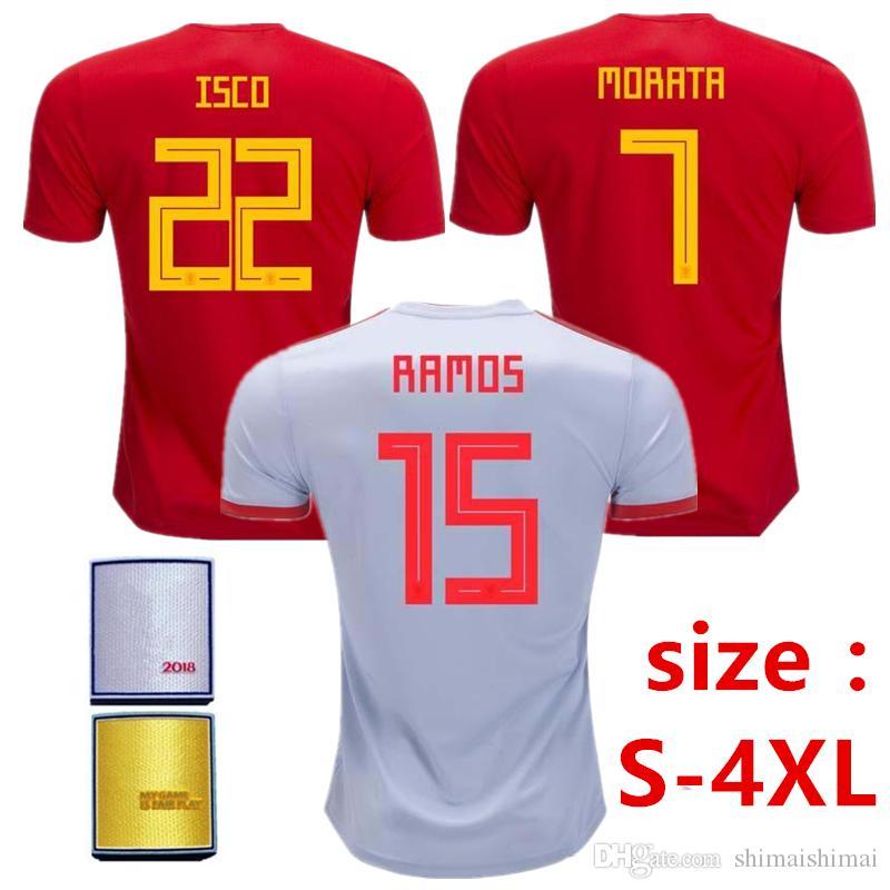 59297e081 Plus Size 2XL 3XL 4XL XXL XXXL XXXXL 2018 Spain MORATA ASENSIO ...