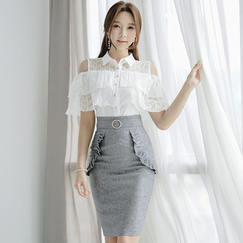 3a235dfb84825 2019 2018 Summer Off Shoulder OL White Lace Blouse High Waist Pencil  Bodycon Skirt Two Piece Office Sets Work Suit Dress From Clothesg519