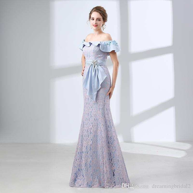 Elegant Mermaid Lace Long Evening Dresses 2018 New Sleeveless Ruffles Floor Length Lace Up Formal Prom Party Gown Custom Made 17-6644