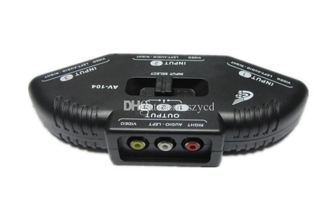 3-Way Audio Video AV RCA Black Switch Selector Box Splitter Converter con 3 cavi RCA