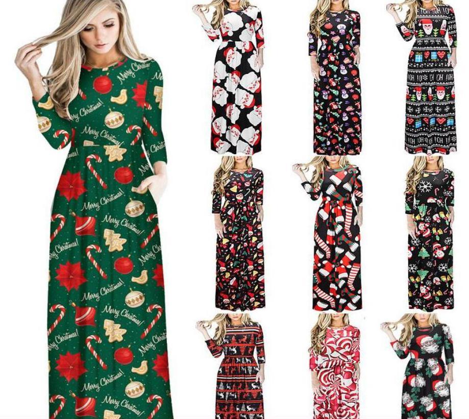 b0a927f66abea0 13 styles Noël Femmes bande dessinée imprimé Robes Col Rond Longue Jupe  Dame Casual Partie Costume Festival Tissu Femme Robe FFA983 36 pcs