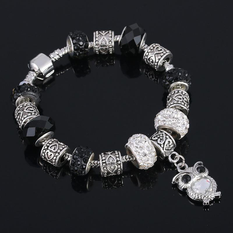 2016 New Fashion Plated Silver Bracelet with Owl Pendant Glass Crystal European Beads Fits DIY Style Charms Bracelets for woman