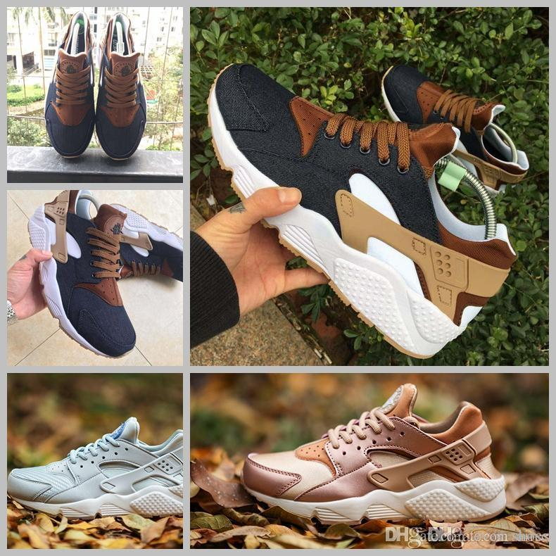 7c43fb2a9328 2018 Huarache ID Custom Breathe Running Shoes For Men Women Women Men Navy  Blue Tan Air Huaraches Sneakers Huraches Brand Hurache Trainers Spikes Shoes  Best ...
