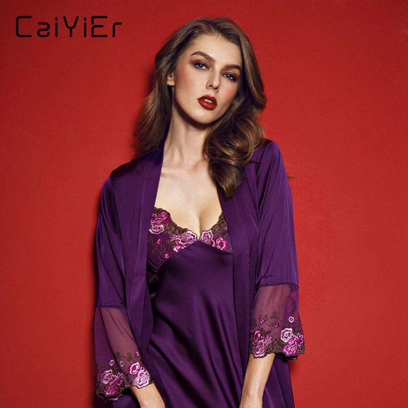 09b95c4e8009 2019 Caiyier Women Nightgown Robe Suit Spring Summer Lace Hollow Out Floral  Nightdress Robes Woman Purple Strap Sexy Lingerie LSB1506 From Sincha
