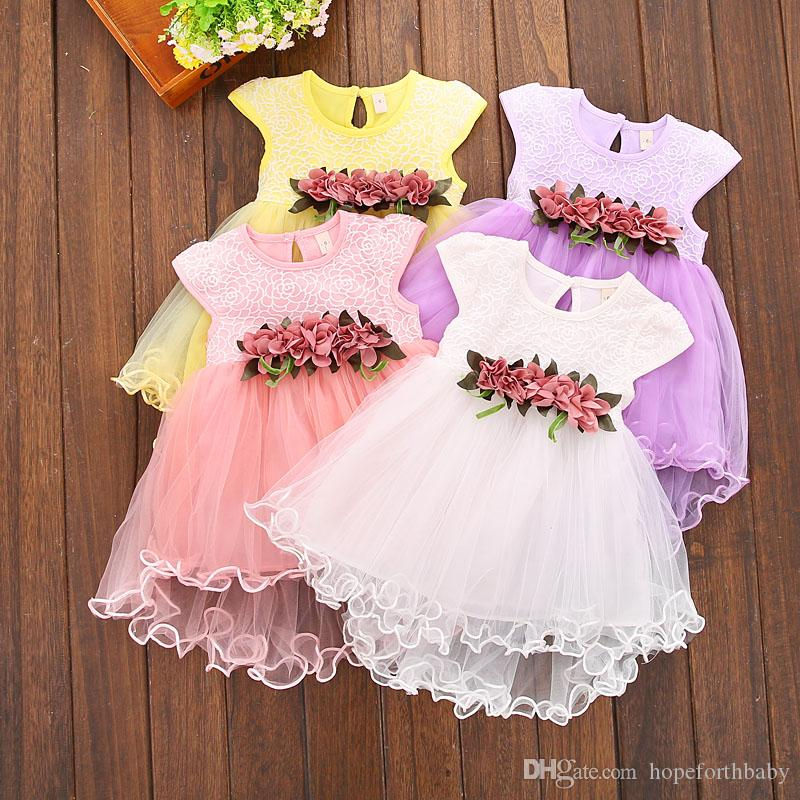 58d7dc0ffe 2019 Infant Kids Baby Girl Dress Clothes Summer Floral Print Skirt Geometry  Round Neck Sleeveless Cotton Casual Princess Party Dresses One Pieces From  ...