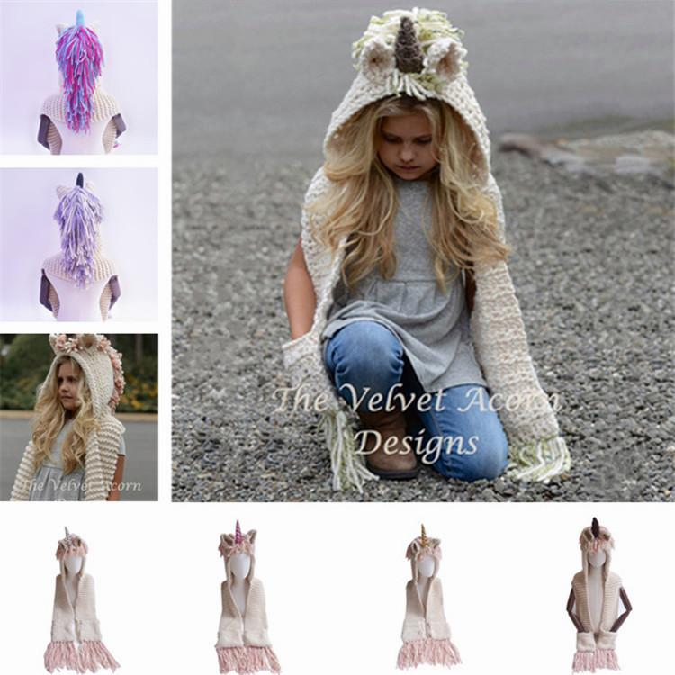 Cartoon Unicorn Knitting Tassels Capes Hooded Children Poncho Baby
