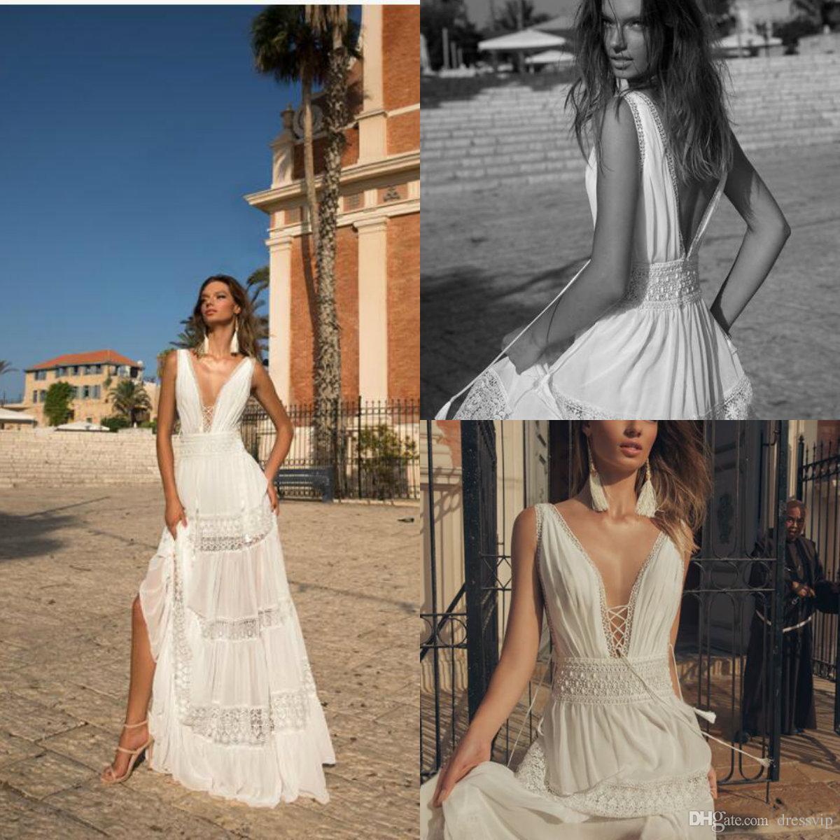 Discount 2018 Julie Vino Bohemian Wedding Dresses Deep V Neck A Line ...