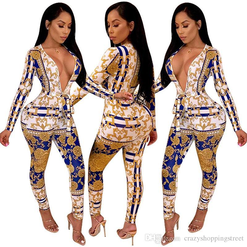 2019 2018 New Women Long Sleeve Jumpsuits Rompers Medusa Sexy Gold Chain  Print Skinny Jumpsuit Deep V Bodysuit Women Clothes Nightclub Wear From ... e48c234f4