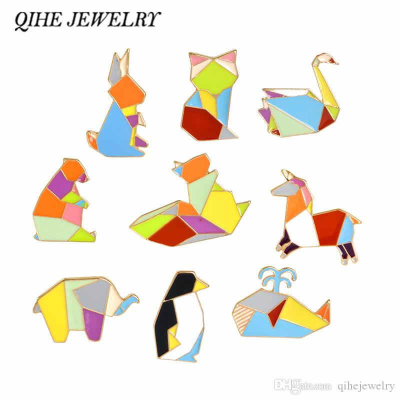 QIHE JEWELRY Origami Animal Pins & Brooches Elephant Rabbit Bear Squirrel Whale Pony Penguin Fox Design Animal Jewelry