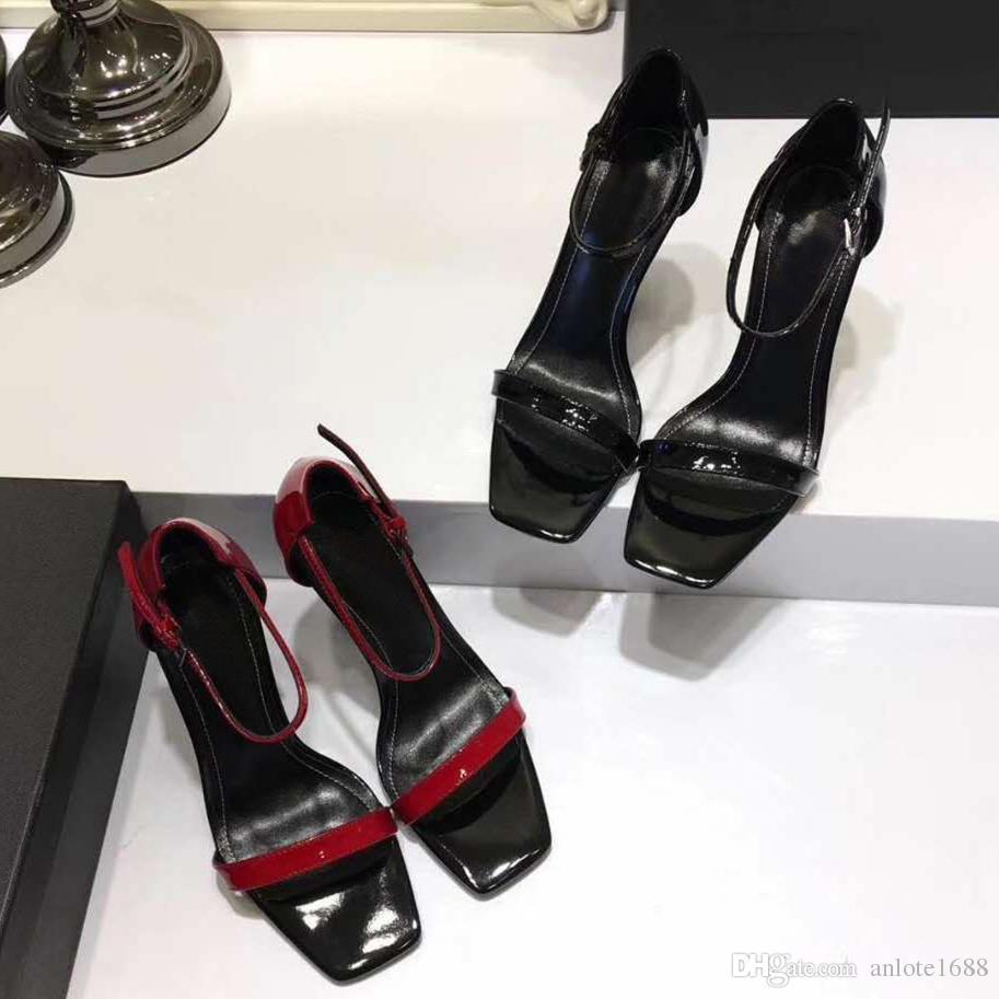 Дизайнер женщины красочные каблуки сандалии высокое качество T-ремешок на высоком каблуке насосы 6 цветов дамы лакированная кожа платье один обувь
