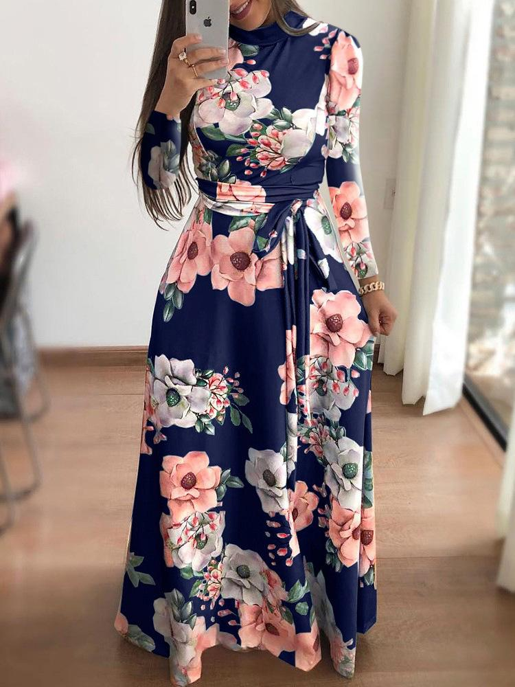 e2ccdae03e Floral Printed Women Long Sleeve Maxi Dresses Turtleneck Winter Sashes  Floor Length Long Dress Chic American Style Robe M0188 Evening Dresses For  Party ...