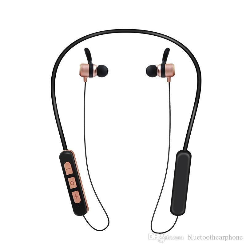 960d6f4a993 Compre Banda Para El Cuello Del Deporte Auricular Bluetooth Nuevos Auriculares  Bluetooth Inalámbrico Metal Estéreo Magnético Auricular Al Por Mayor Para  El ...